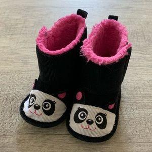 Baby Girl Corduroy Panda Boots, 9-12 Months